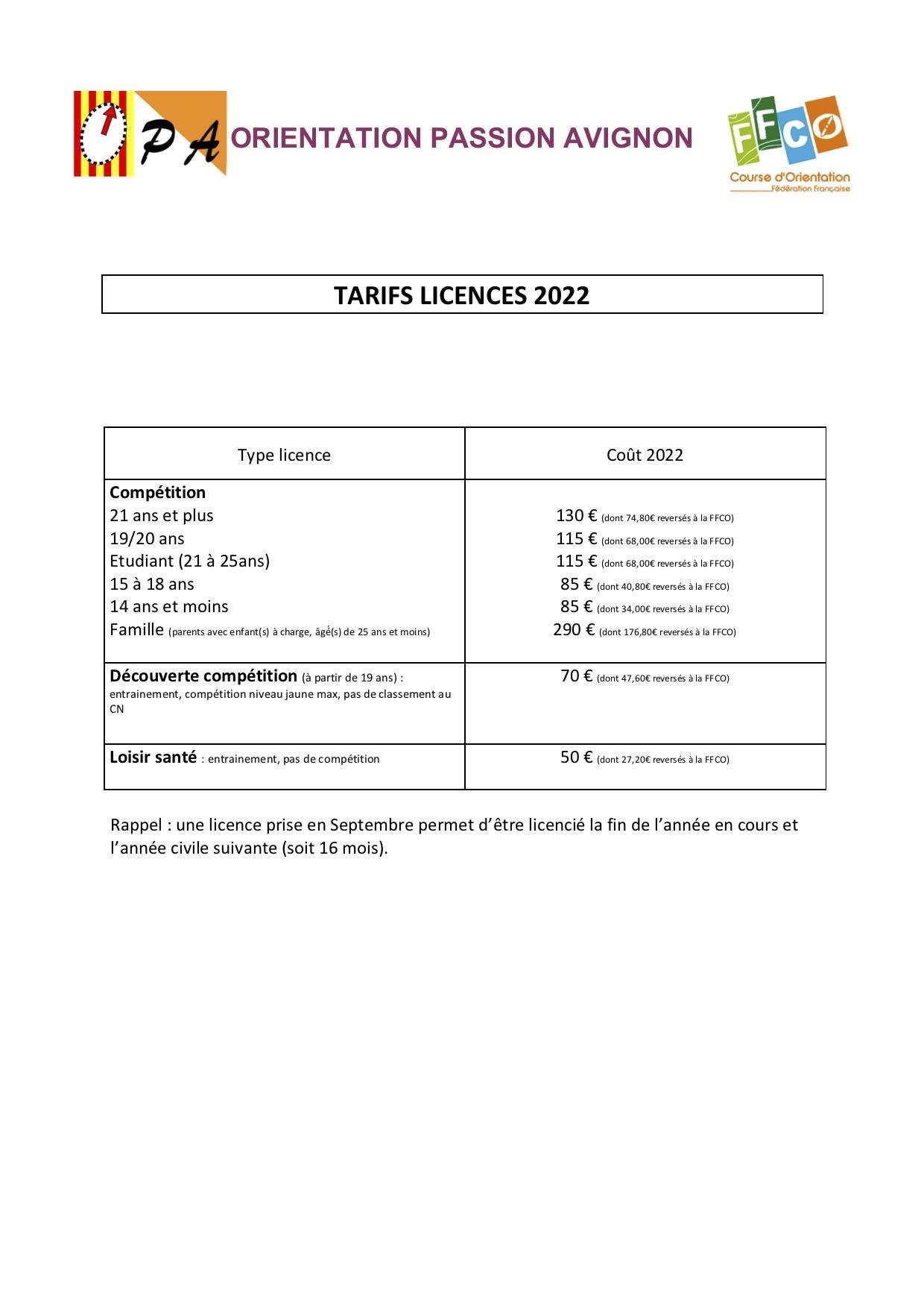 Tarifs nouveaux licencie s 2022